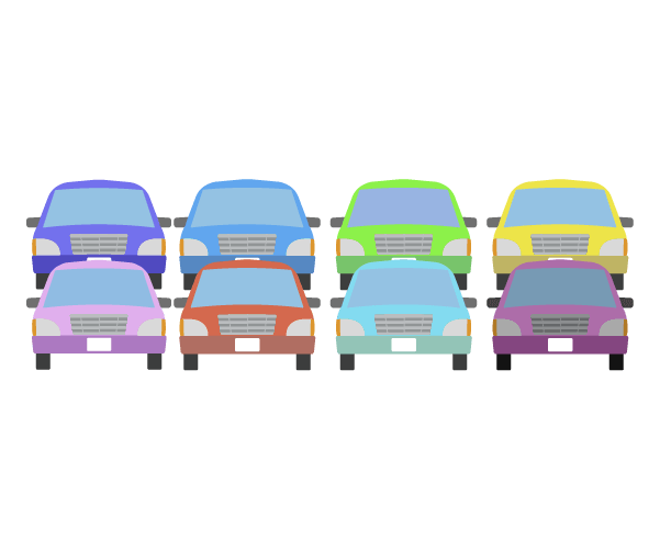 駐車場に並ぶ車のイラスト