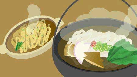 うどんイラスト - 鍋焼き・きつね熱々の麺の無料素材