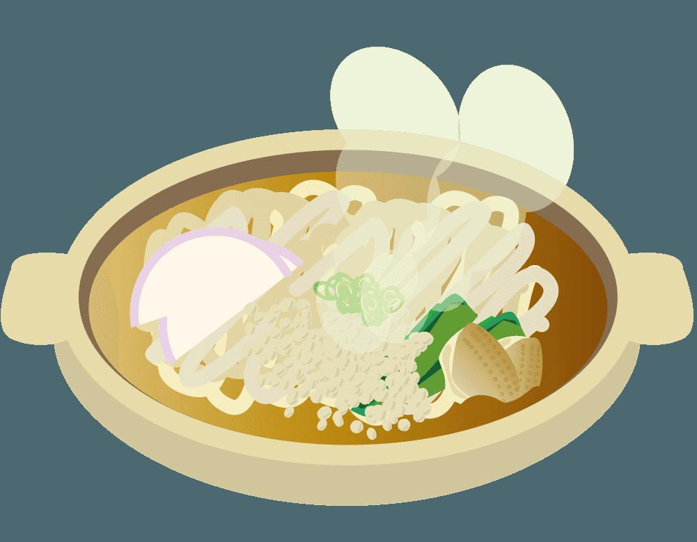 熱々のたぬき鶏肉うどんのイラスト