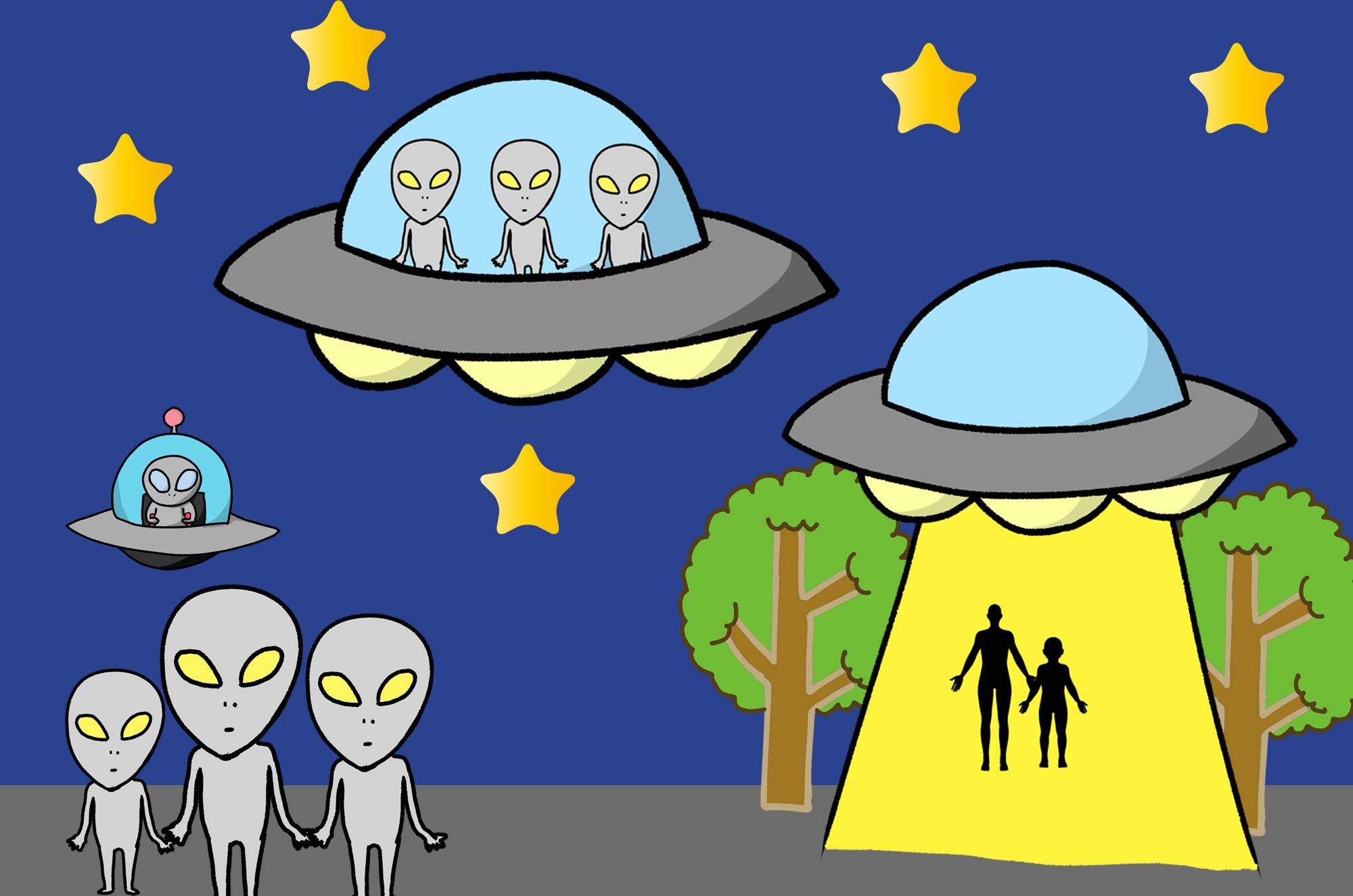 UFOのイラスト - 可愛い未確認飛行物体の不思議な無料素材