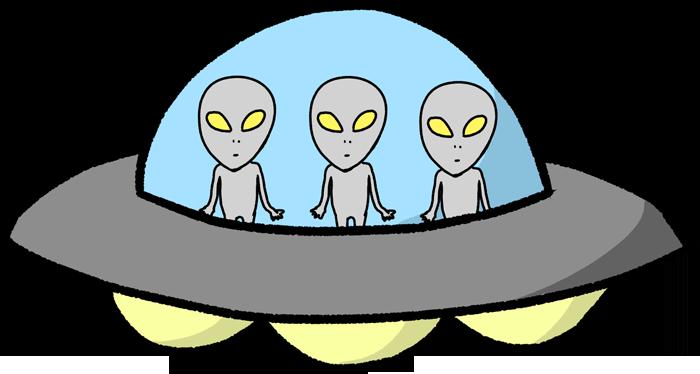 宇宙人が乗ったUFOのイラスト