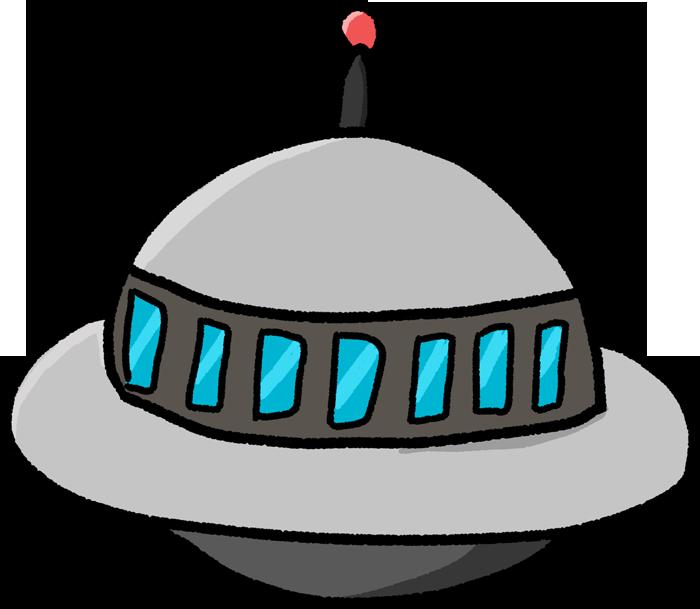 窓がいっぱいある円盤型UFOのイラスト