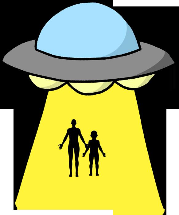 キャトルミューティレーションしているUFOのイラスト