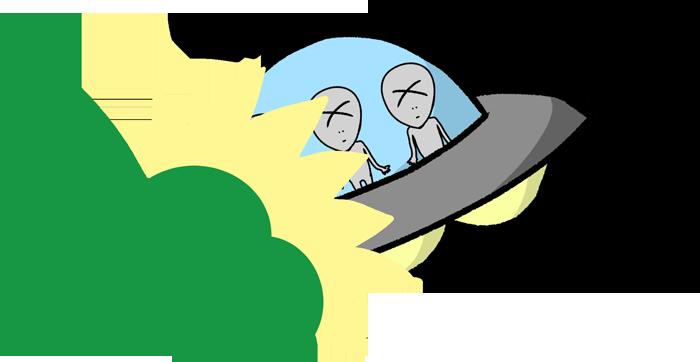 墜落したUFOのイラスト