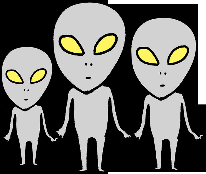 UFOから降りた3匹の宇宙人のイラスト