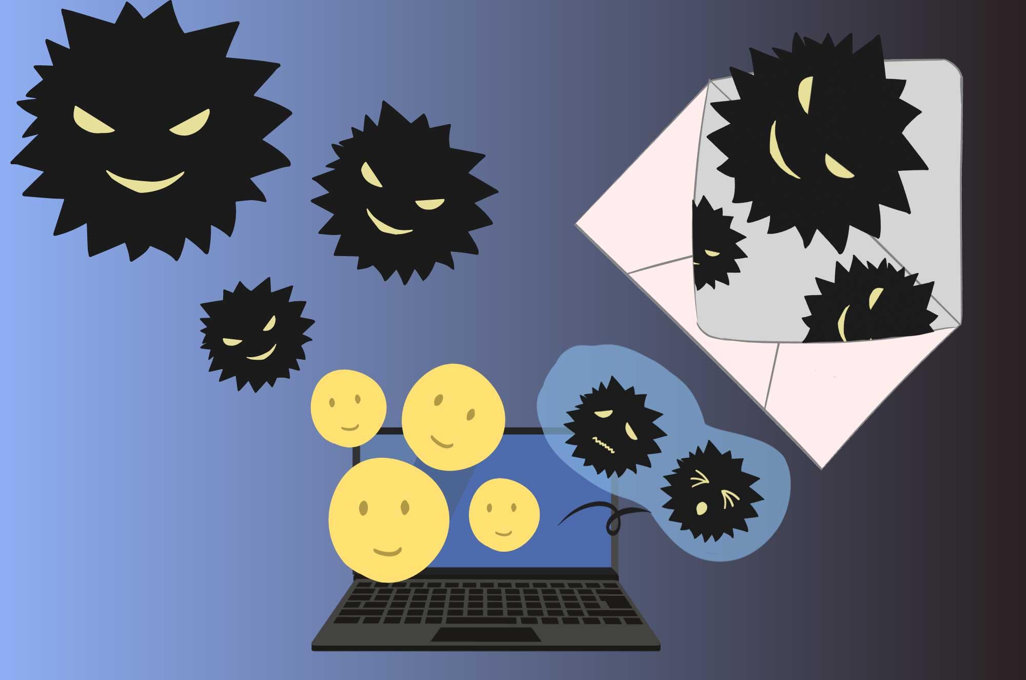 ウイルスの無料イラスト - 悪そうな菌のイメージ素材