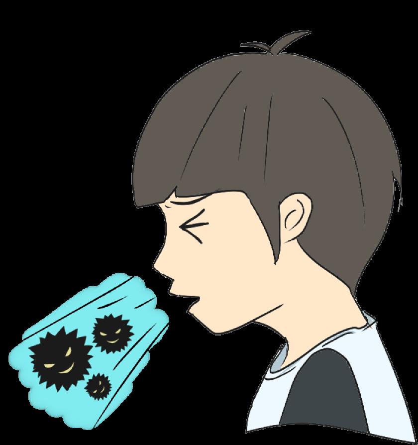 くしゃみで飛散するウイルスのイラスト
