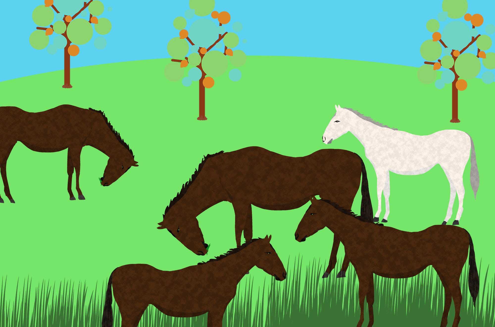 馬イラスト - かっこいい・可愛い草原のアニマル素材