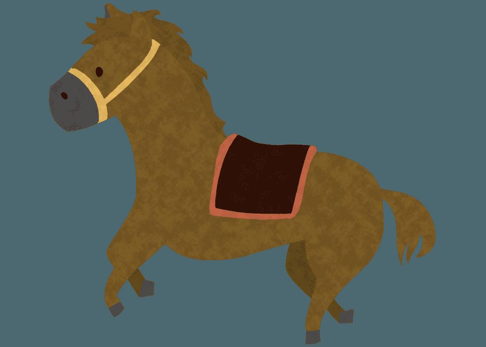 可愛い馬が走っているイラスト
