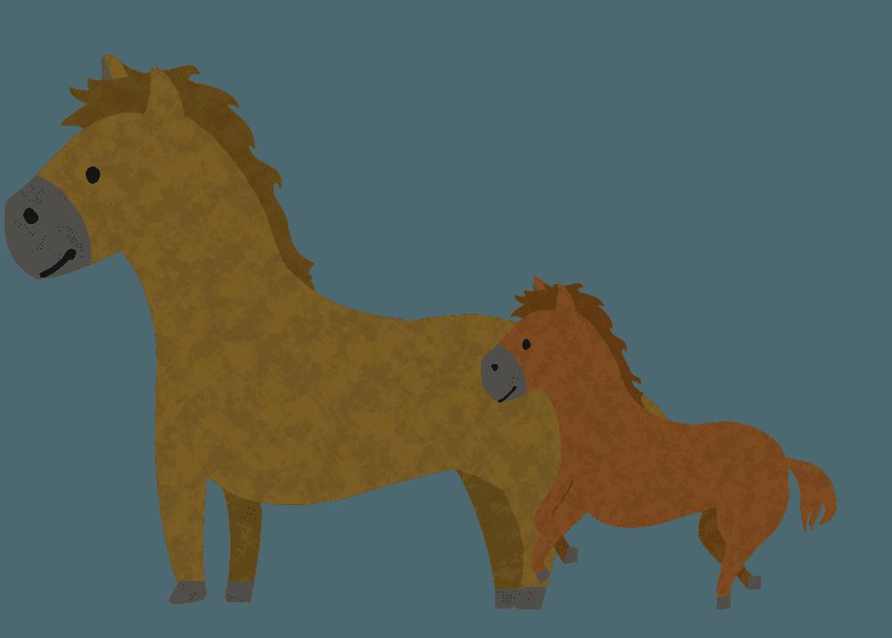 可愛い馬の親子イラスト