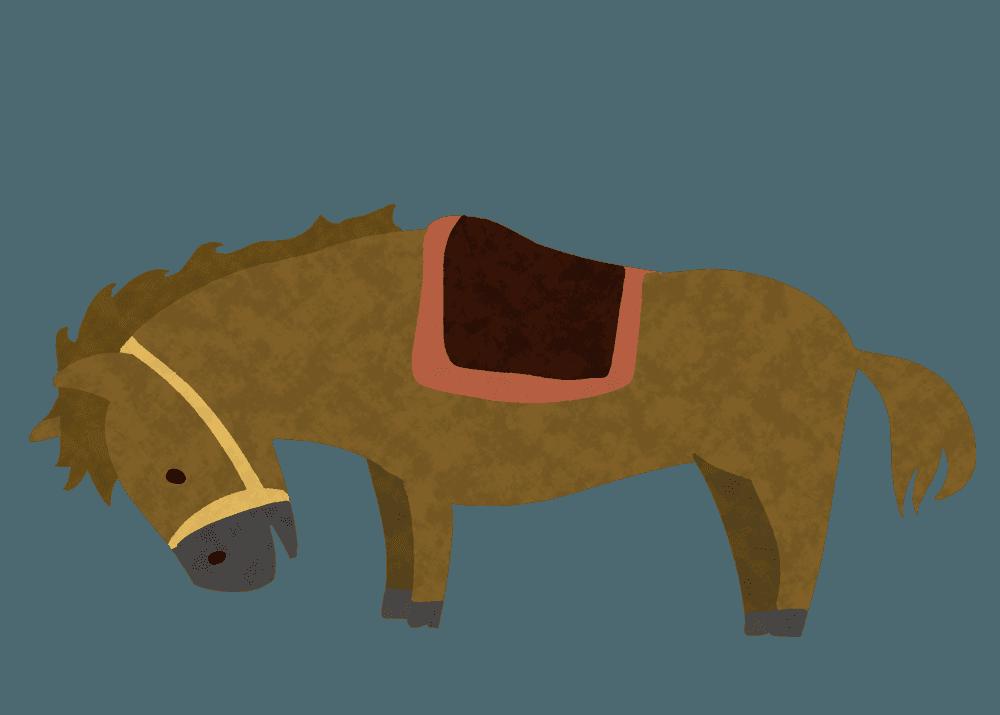 乗馬前の可愛い馬のイラスト