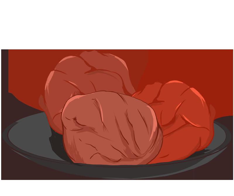 皿に盛り付けた梅干しのイラスト