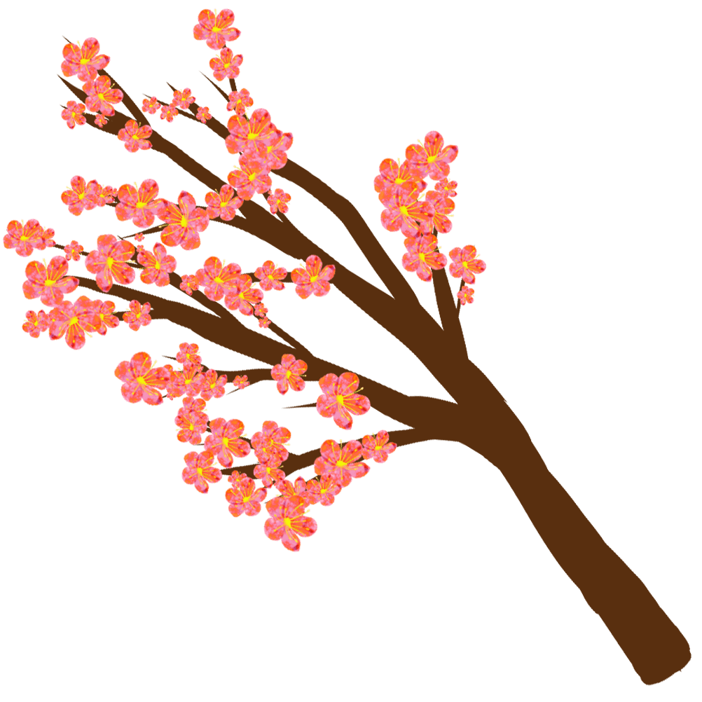 咲き乱れる梅の花と枝のイラスト