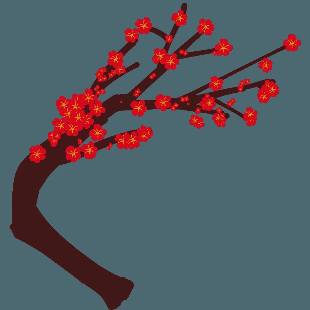 梅の花と曲がった木イラスト