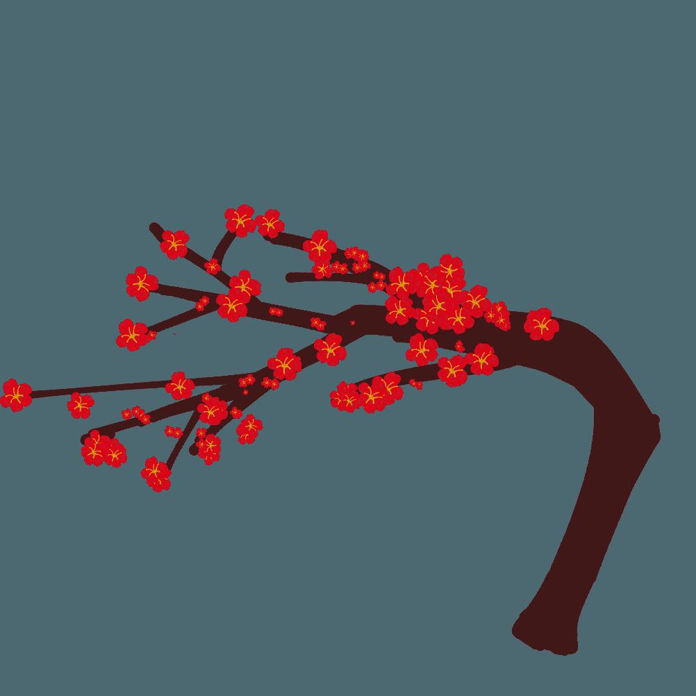 曲がった梅の木イラスト