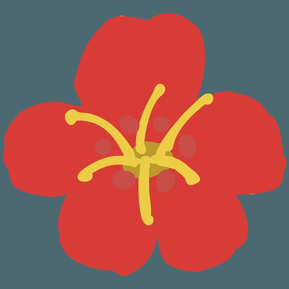 真っ赤な梅の花イラスト