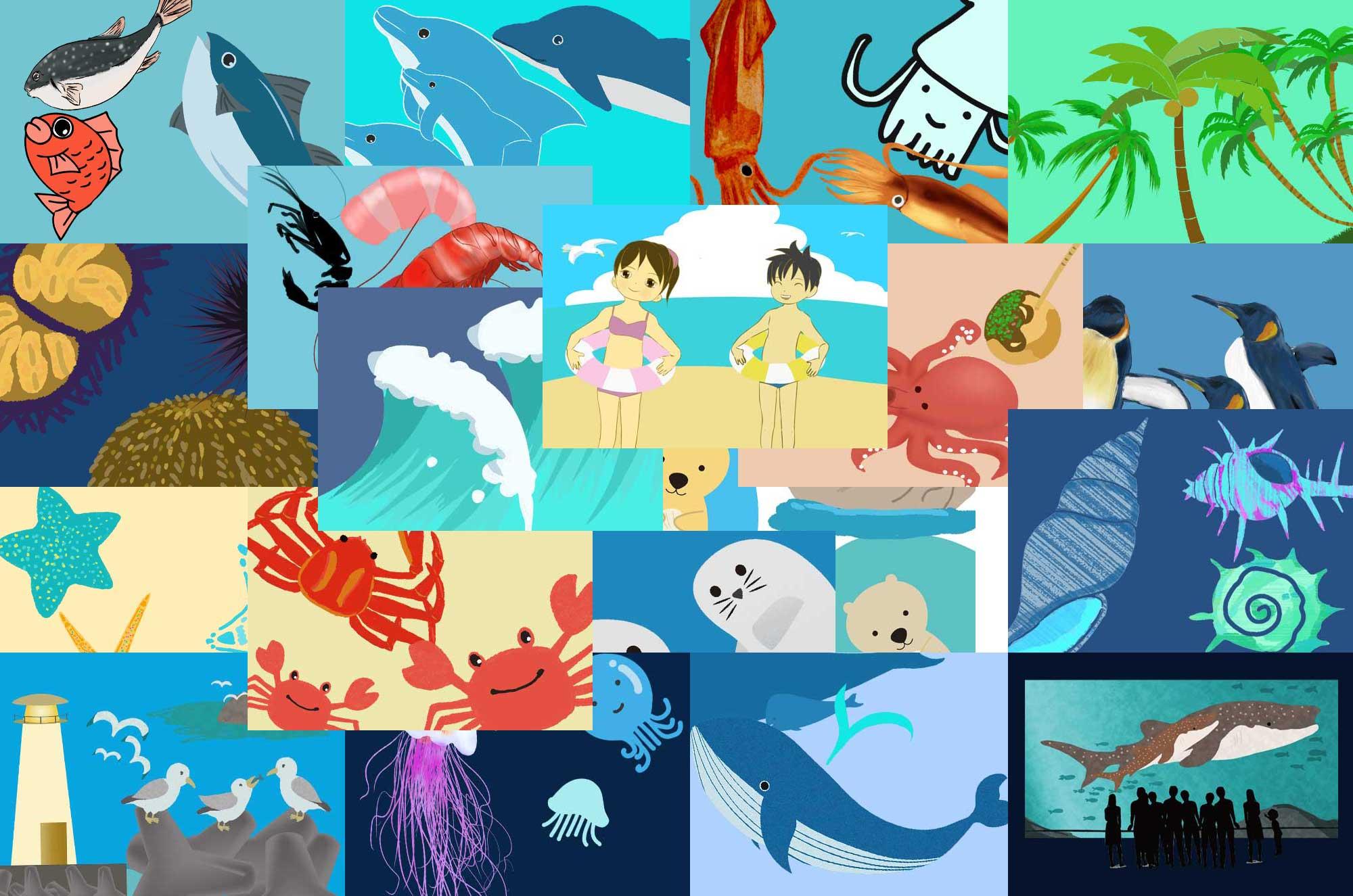 海のイラスト - 不思議で可愛い動物・生物の無料素材集
