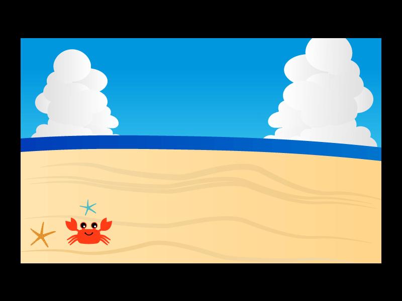 カニさんと海の背景のイラスト