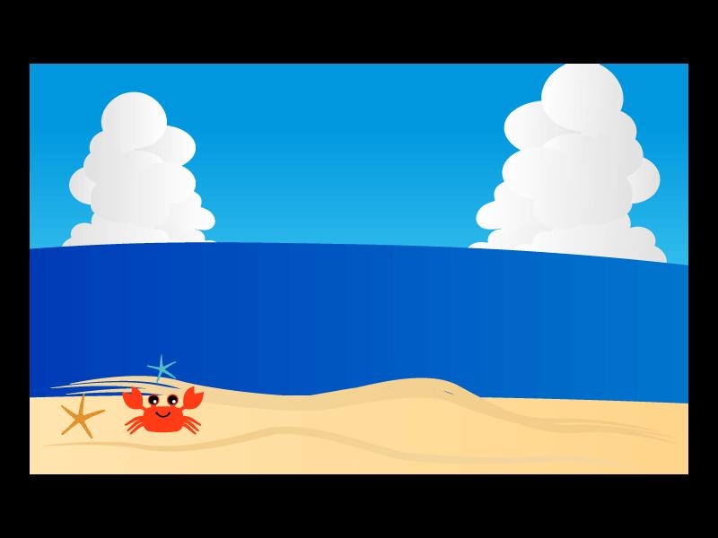 カニさんと海の背景のイラスト2