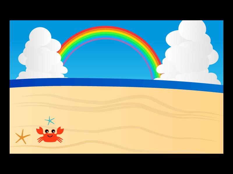 カニさんと海の背景のイラスト3