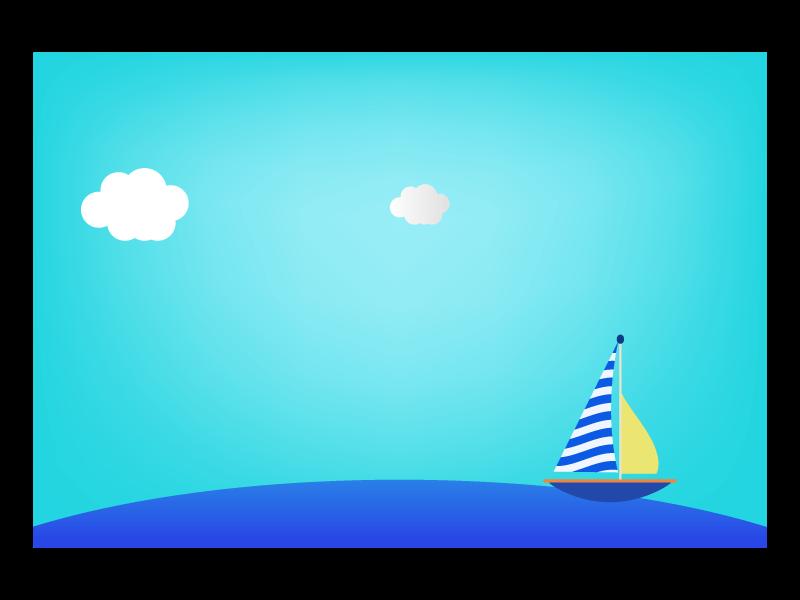 ヨットと海の背景のイラスト