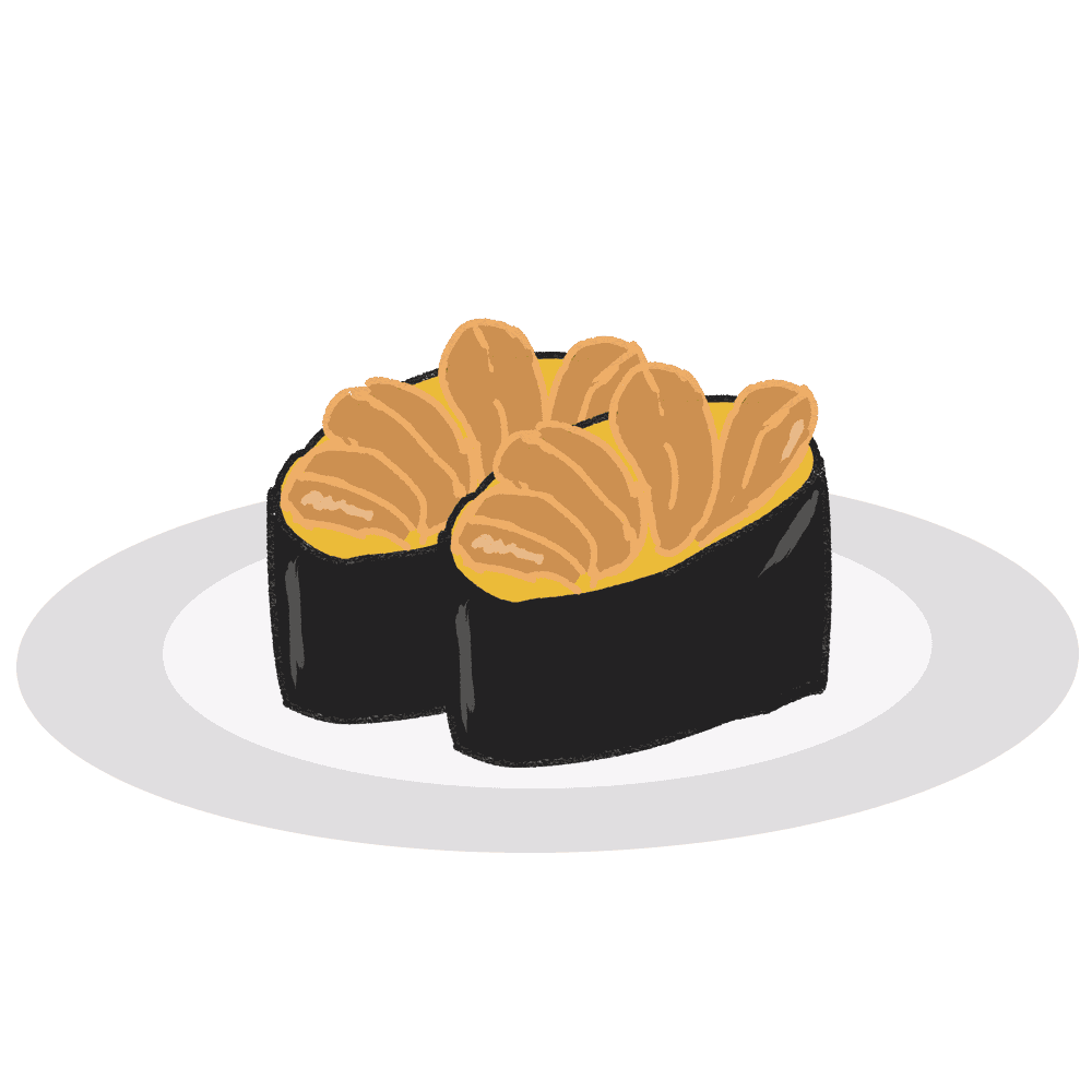 お寿司の軍艦巻きうにイラスト