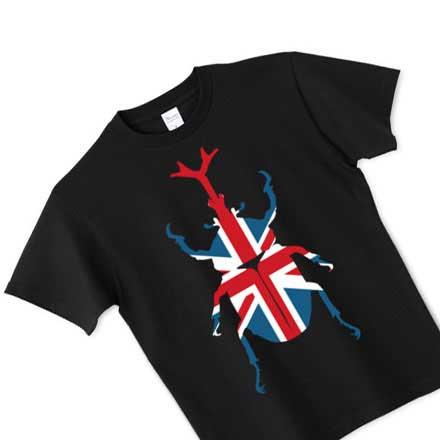 ブラックボディのユニオンジャックカブトムシTシャツ