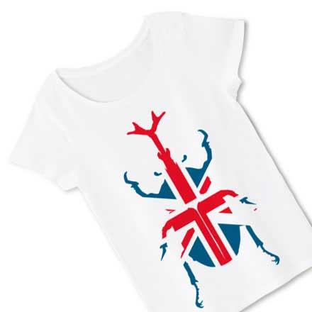 ホワイトボディーのユニオンジャック&カブトムシTシャツ