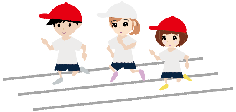 可愛い徒競走(かけっこ)の運動会イラスト