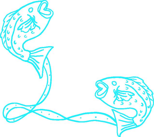 魚座の線画イラスト