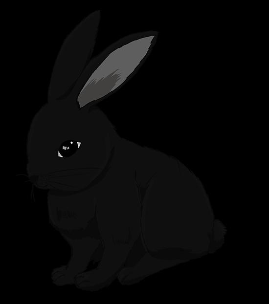 リアルな黒うさぎのイラスト