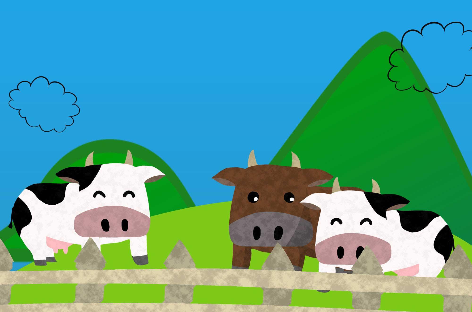 牛のフリーイラスト - 可愛い・かっこいい牧場の牛・和牛の素材