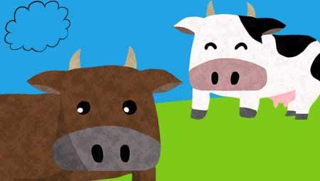 牛イラスト - 可愛いキャラクターと牧場風景のフリー素材