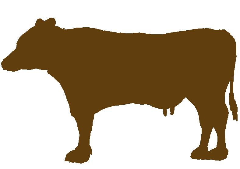 牛の茶色いシルエットイラスト