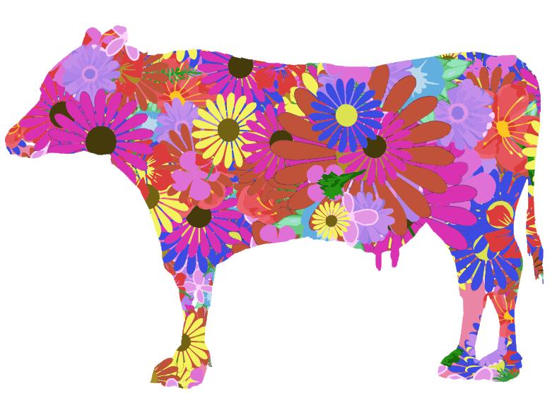 可愛い花柄の牛のイラスト