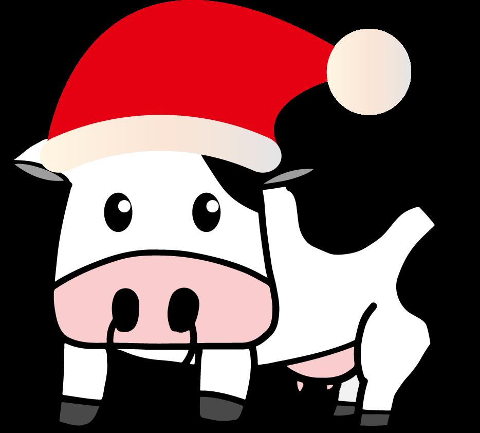 サンタクロース牛のイラスト