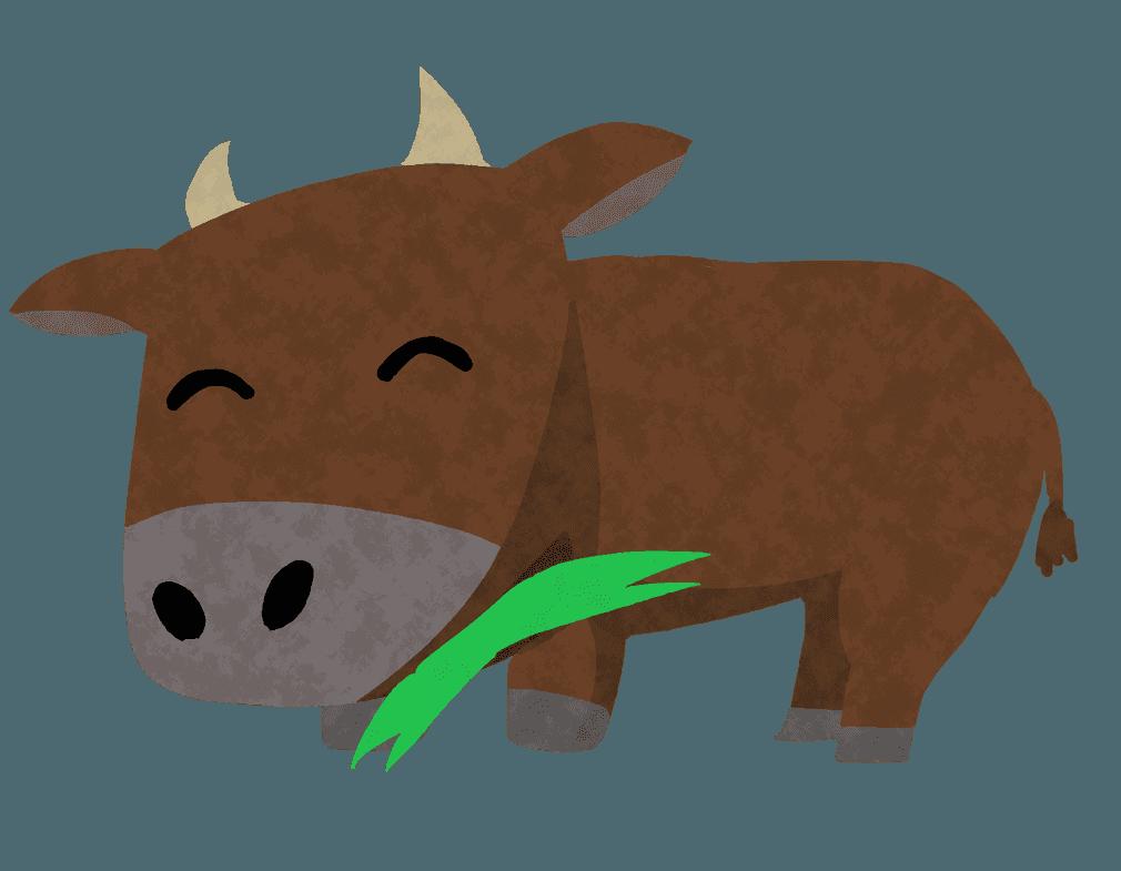 牧草を食べる牛イラスト