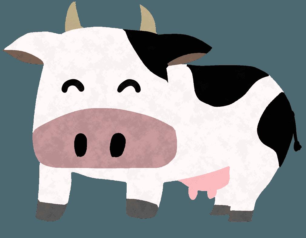 笑顔の可愛いキャラクターの牛イラスト