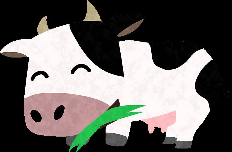 草を食べる可愛い牛