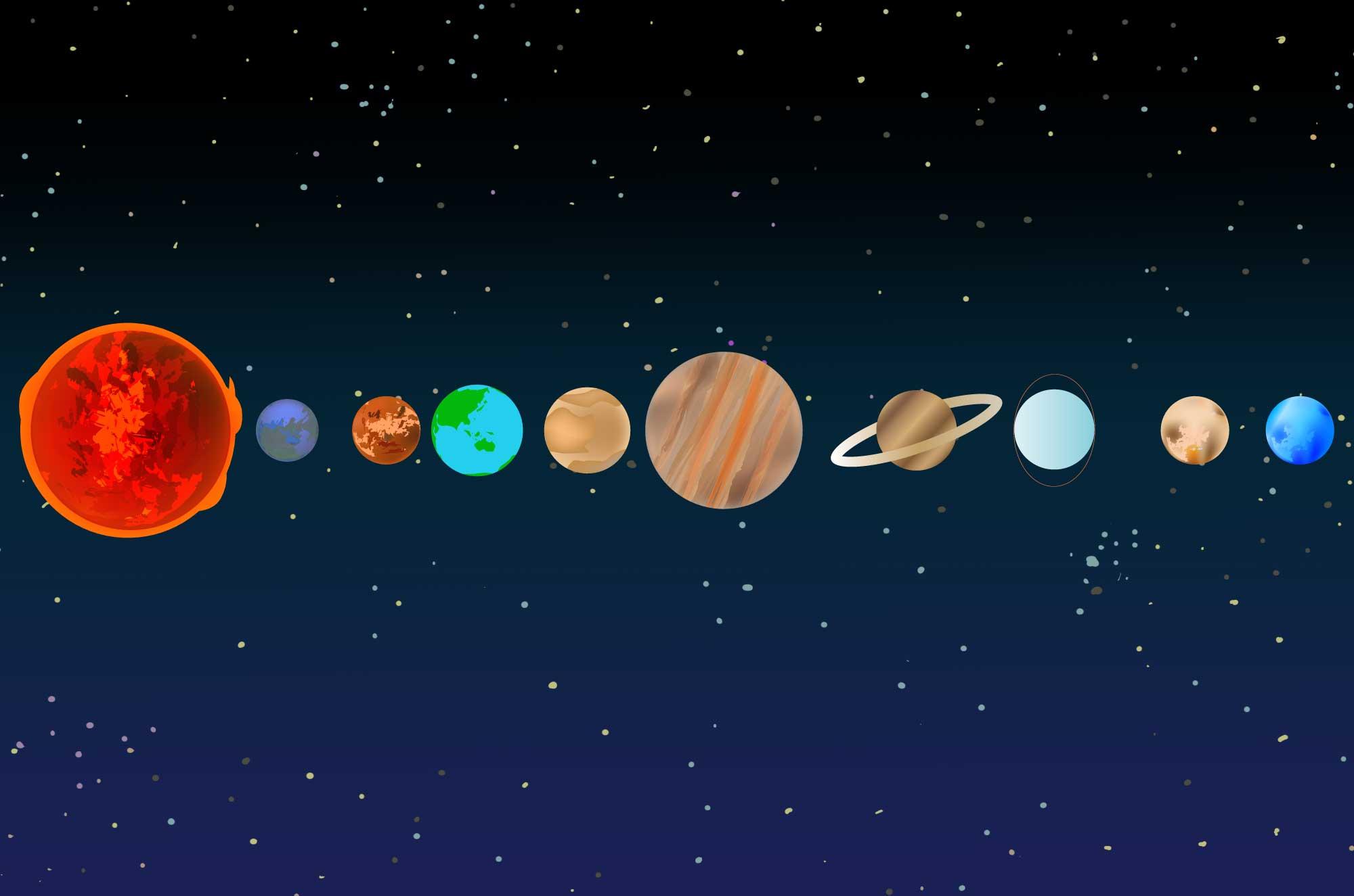 宇宙の無料イラスト , 惑星・太陽系の自然フリー素材 , チコデザ