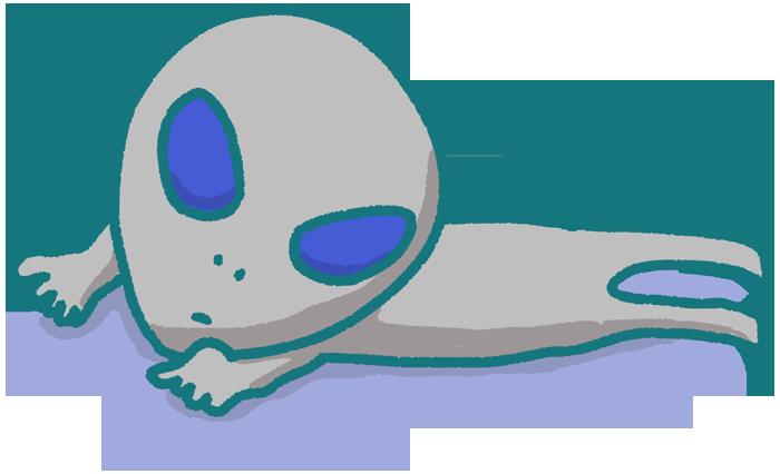 寝っ転がって伸びている宇宙人のイラスト