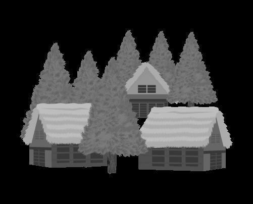 藁葺き屋根の家のイラスト