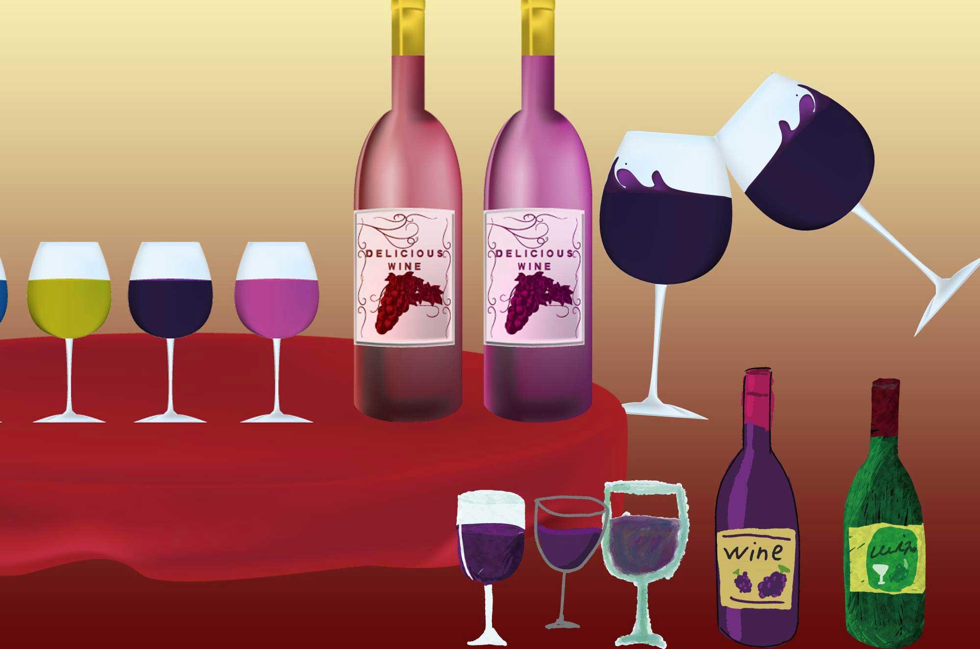 ワインのイラスト - おしゃれなグラスとボトルの無料素材