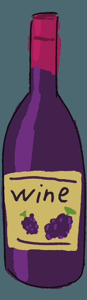 手描きの可愛いワインボトルイラスト