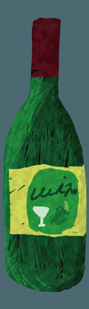 アートな手描きのワインボトルイラスト