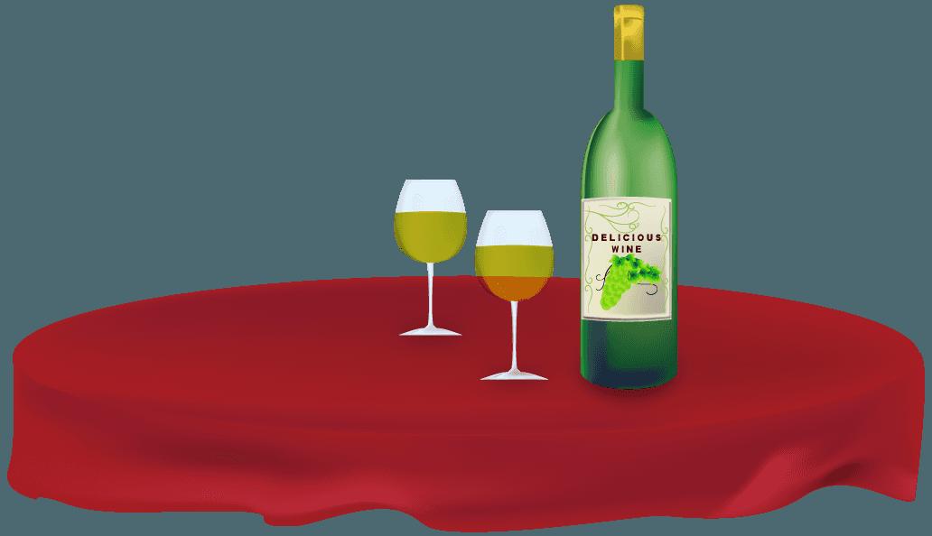 パーティー会場のテーブルに置かれたワインのイラスト