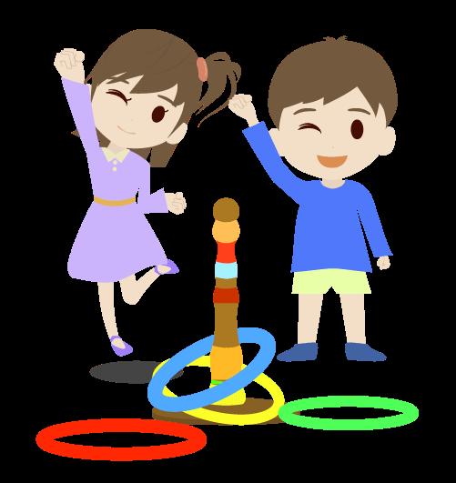 輪投げで遊ぶ子ども達のイラスト
