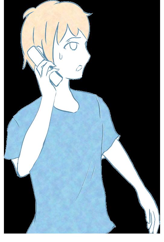 電話をしながら焦る人のイラスト