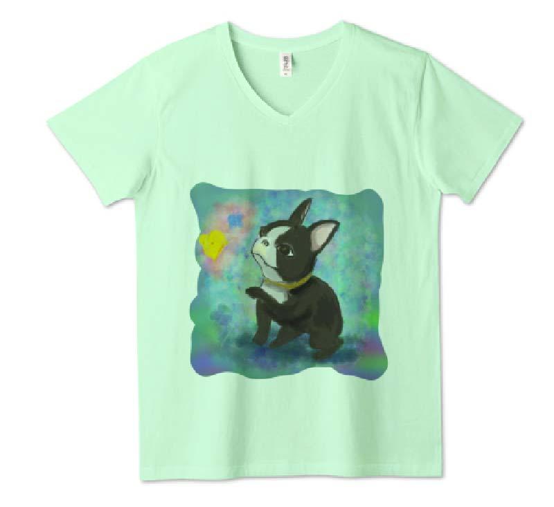 昭和レトロフレンチvネックTシャツ