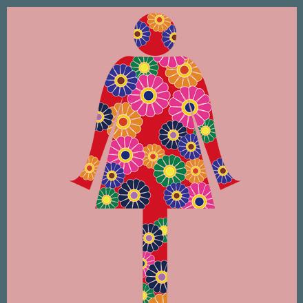 WomanTシャツ花柄の可愛くておしゃれなピクトグラムデザイン★